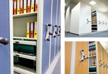Mobile shelving colours and materials